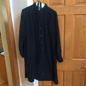100% Silk Blue Club Monaco Shirt Dress Size 12